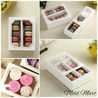 Macaron Box White Macarons Boxes Container with inner slot compartment holder good quality container packaging cupcake brownie cookie soap candle jewelry giftbox retail wholesale discount bulk instock not preorder