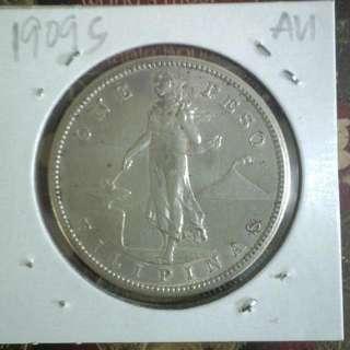 1909s One Peso AU