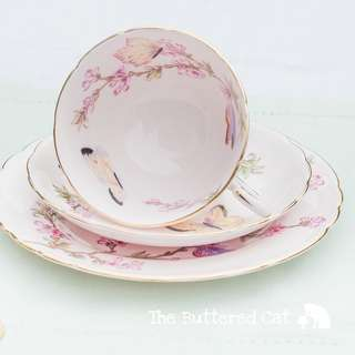 Vintage Tuscan cabinet tea trio featuring beautiful butterflies and pink blossoms, for the collector