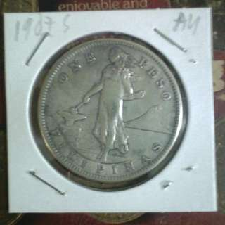 1907s One Peso Coin AU Silver