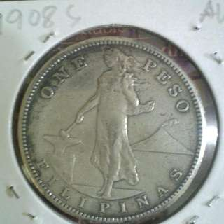 1908s One Peso Coin AU Silver