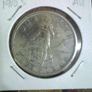 1910s One Peso Coin AU SILVER