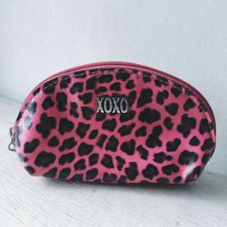101% AUTHENTIC XOXO PINK LEOPARD POUCH