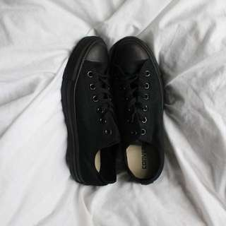 Converse Low Top Monochrome All Black Sneakers