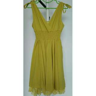 Yellow Color Cocktail/ Dinner Dress