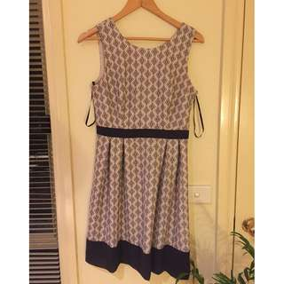 Tokito print dress - Navy and light pink - size 10