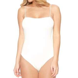White Straight-Cut Bodysuit