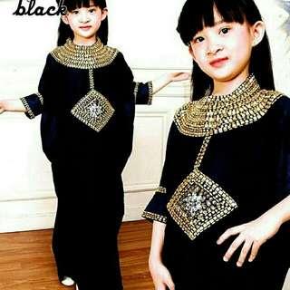 DNC21 DRESS KAFTAN BLACK CLEO KIDS BAJU MUSLIM ANAK PEREMPUAN 5 6 TAHUN