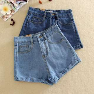 BRAND NEW TRENDY FASHIONABLE HIGH WAISTED DENIM BLUE JEANS SHORTS CUTE SEXY CASUAL LIGHT BLUE CHIC PETITE BASIC SHORTS