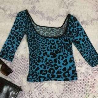 Blue Leopard Spandex
