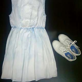 Soft Denim Dress with Dramatic Lace Back Design