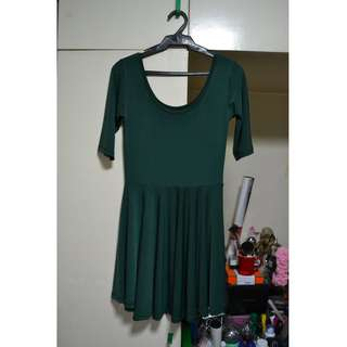 Dark Green Skater Dress