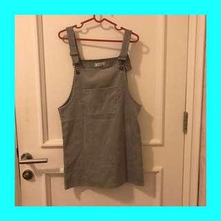 Corduroy Overall Dress (Gray)
