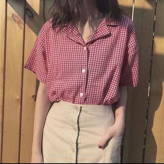 紅白 格子短袖襯衫