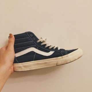 :正品,Vans凡斯老學校感藍高筒帆布鞋(23.5)
