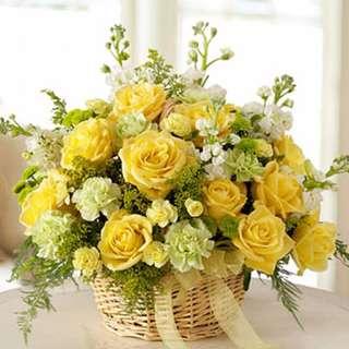 Condolence Flower basket fresh flower - Condol