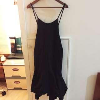 黑 魚尾 綁帶 洋裝 吊帶