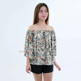 Green Floral Off Top with FREE Turban