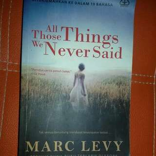 Novel All Those Things We Never Said