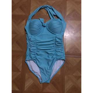 Sky Blue Ruched One Piece