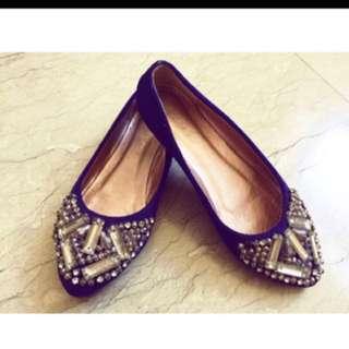 🚚 民族風貼鑽寶藍平低鞋