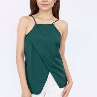 High Neck Open Front Camisole Top - Forest Green