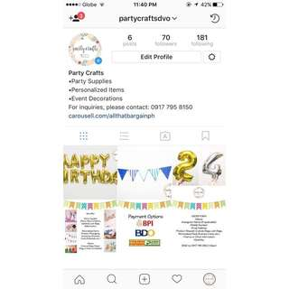 FOR EVERYTHING PARTY, CRAFTS, PERSONALIZED, Follow @partycraftsdvo