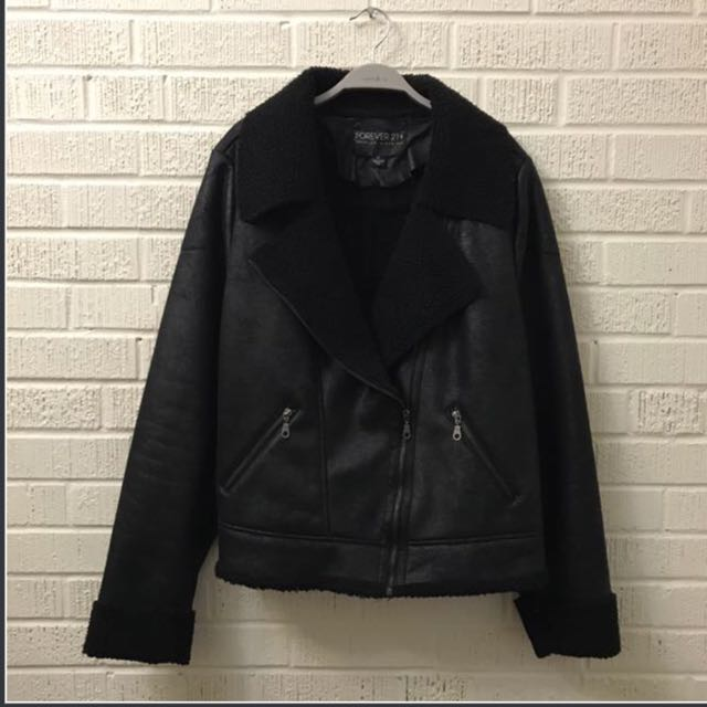 2X F21+ Faux Leather Moto Jacket