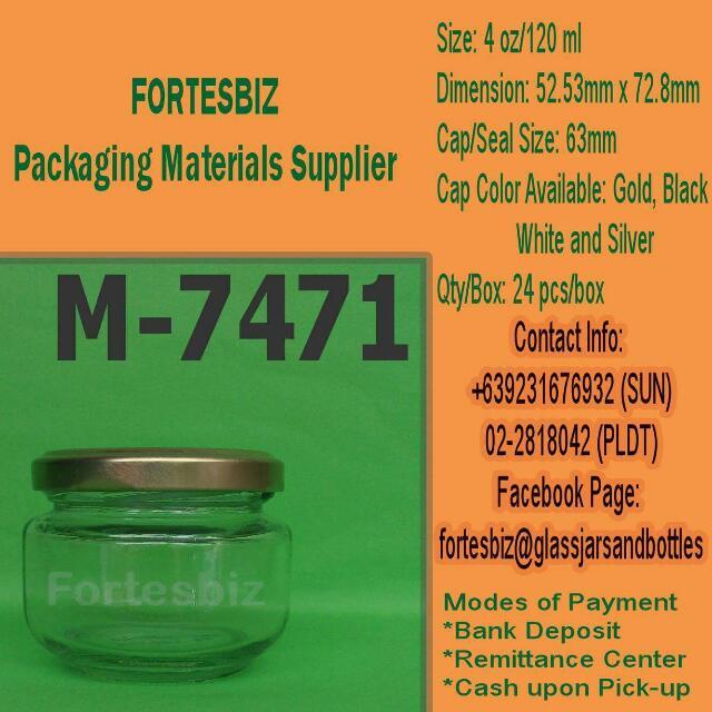 4oz Or 120ml Glass Jars