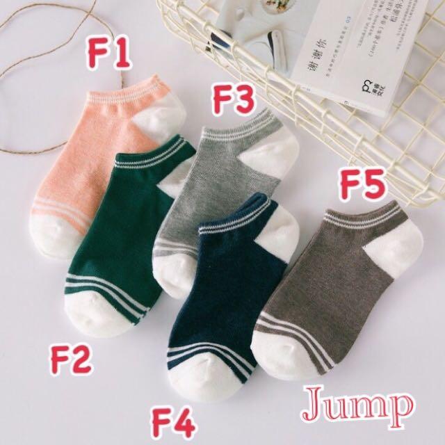 韓國 小清新條紋襪口系列短襪