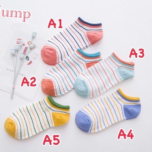 韓國 彩色條紋系列短襪