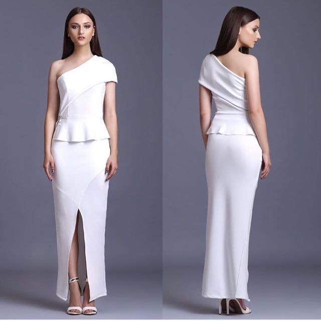 Aquaviva one shoulder neoprene long dress