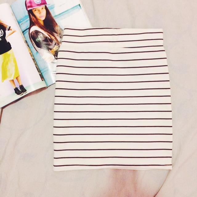 Bandage Skirt White Stripes