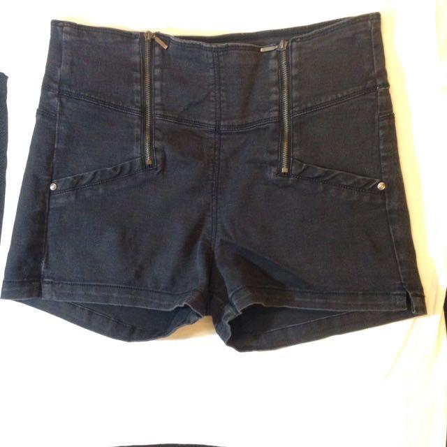Bershka High Waist Black Shorts - Large