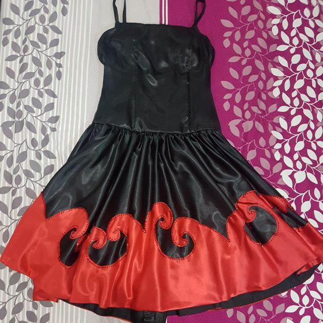 Black Dress with Red Accent and Black Beading