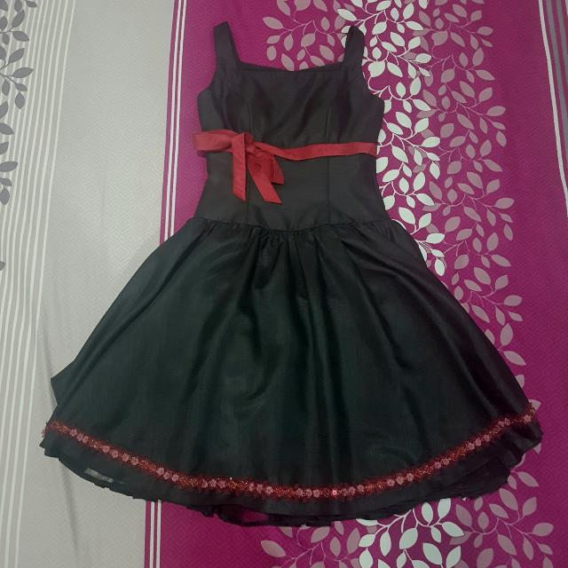 Black Dress with Sewed On Red Sash and Red Beading