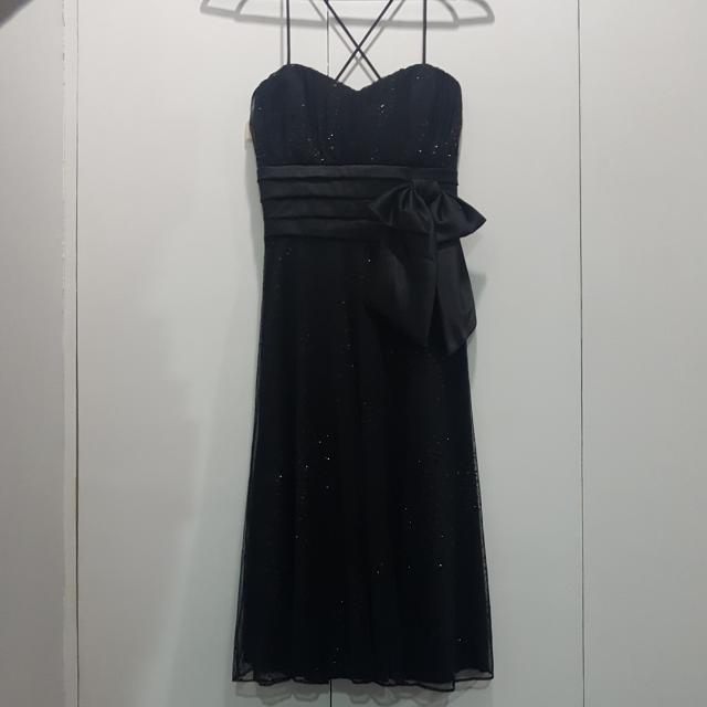 Black Glittered Tool Criss Cross Strapped Dress