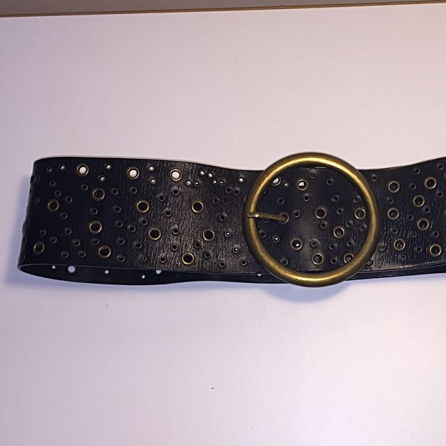 Black Leather Belt with Gold Buckle - Adjustable