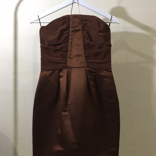 Brown Tube Mini Dress