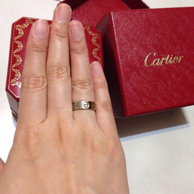 🌟真品 美品 Cartier Love Ring Size:48 寬版 戒子 白金 白k 鉑金