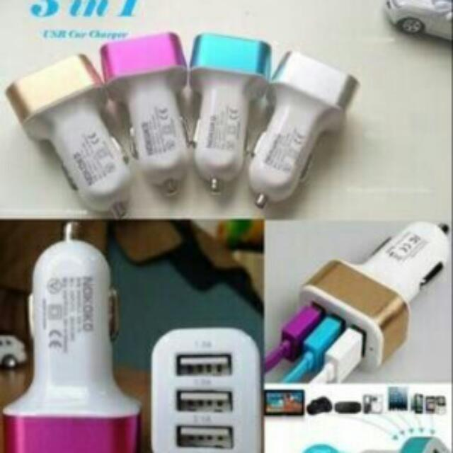 charger saver mobil 3 port