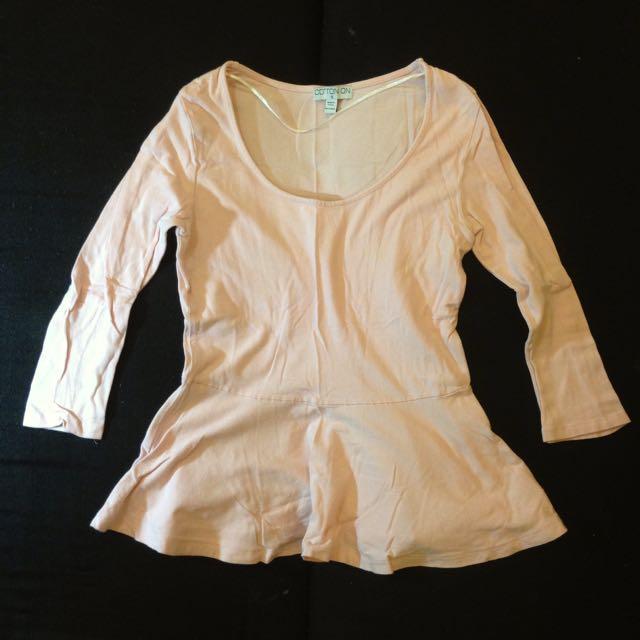 Cotton On Peplum Blouse Shirt - Light Pink Small