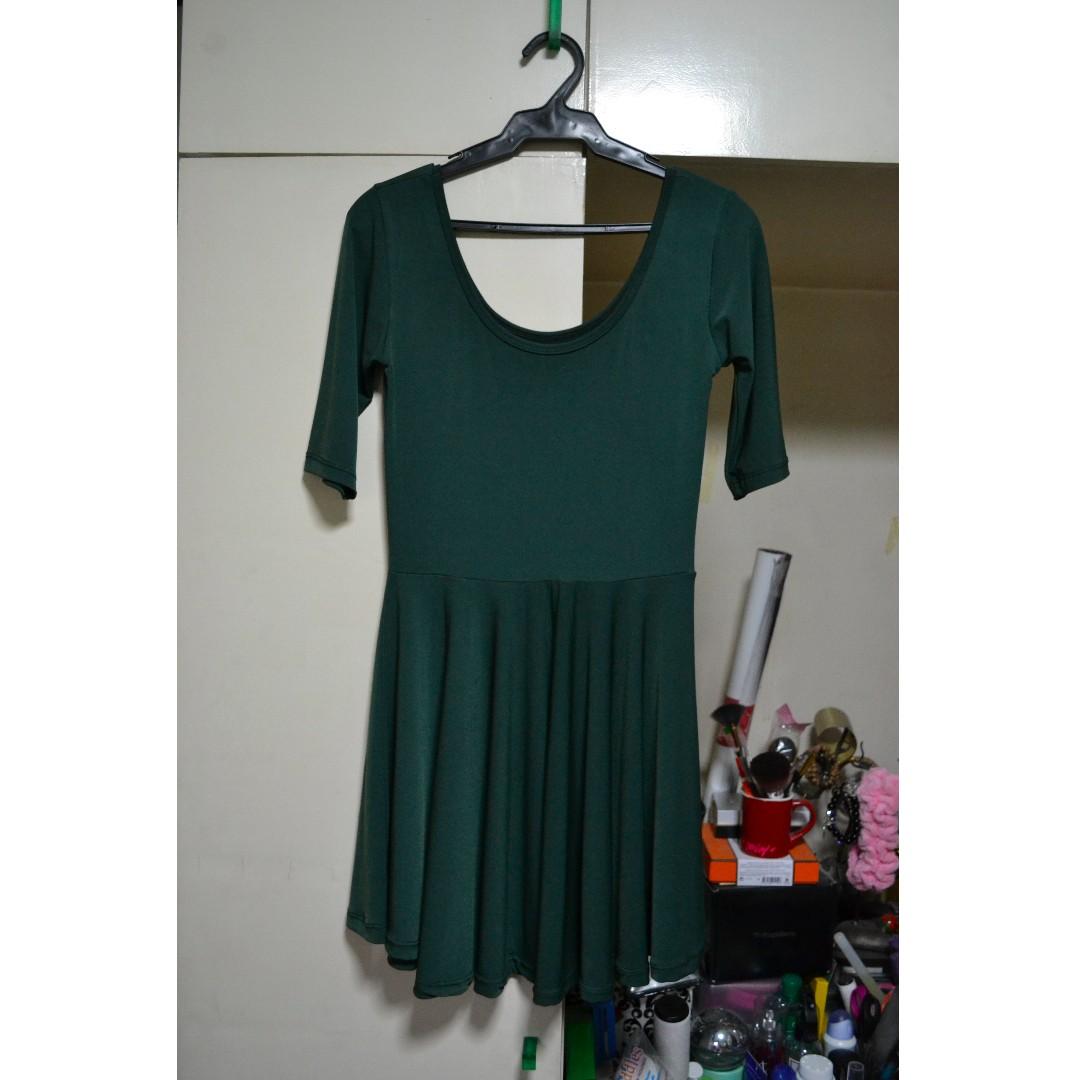 Dark Green Skater Dress