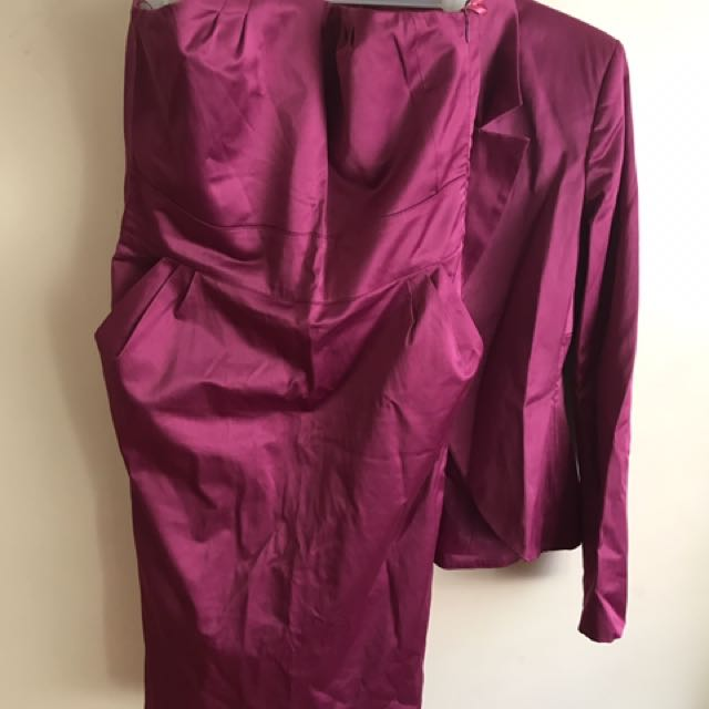 Elegant Dress With Jacket, In Excellent Condition, Used Once Got It From Overseas, Made In Italy, Worth $ 300.