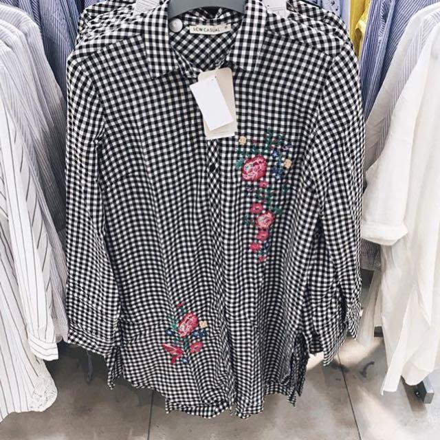 Embroidery Tartan Shirt