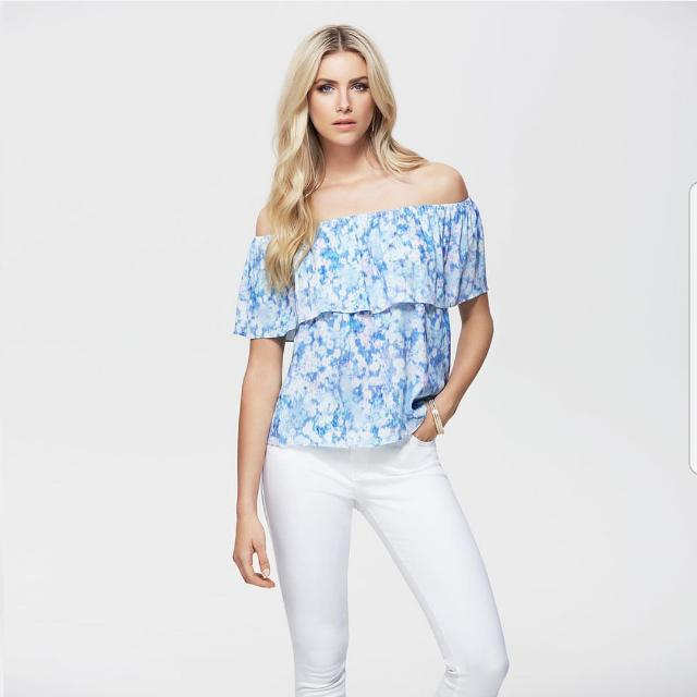 Forever New Blue Floral Top - Size 6