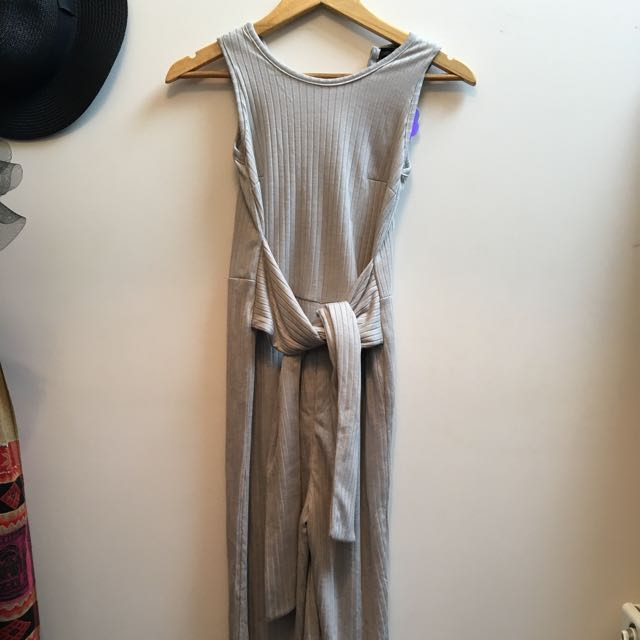 Grey Cotton Jumpsuit