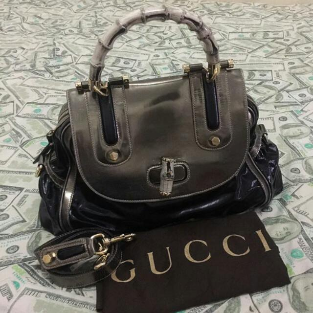 5aea6fe96bf GUCCI Black Dialux Ivory  Pop  Bamboo Top Handle Bag