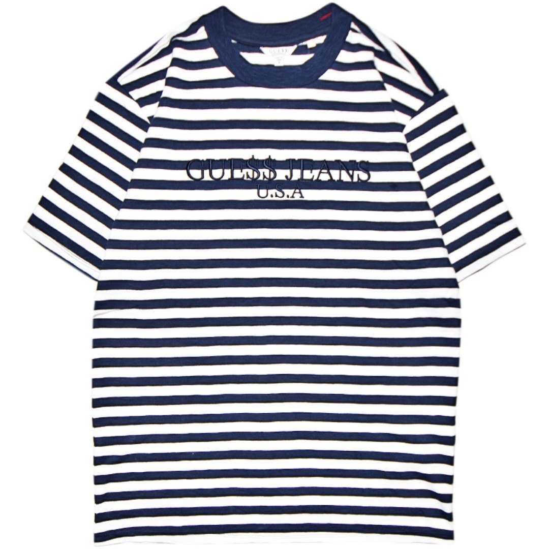 20ab2fef48cd3 Guess x A AP Rocky Stripe Navy Crewneck T-Shirt (LIMITED TIME ...