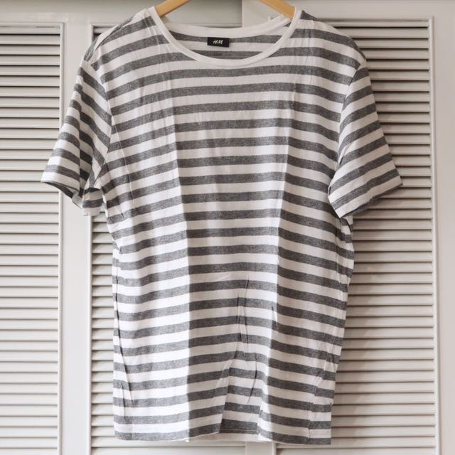 8df01eb4b2 H&M Men's Grey And White Striped Shirt, Men's Fashion, Clothes on Carousell